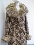 1970's basket weave tweed coat with lynx fur collar